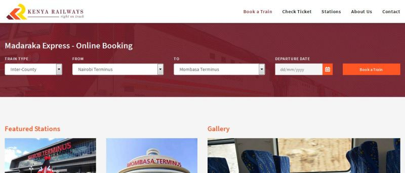 booking SGR Madaraka Express Train Online official website www.metickets.krc.co.ke