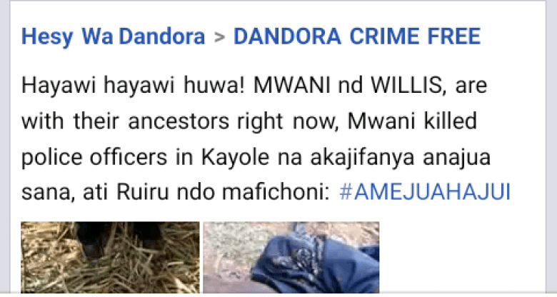 The Facebook post ton Mwanii's gunning down