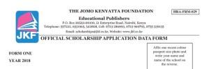 Jomo Kenyatta Foundation Scholarship Form for 2018 Form One, Eligibility and Download
