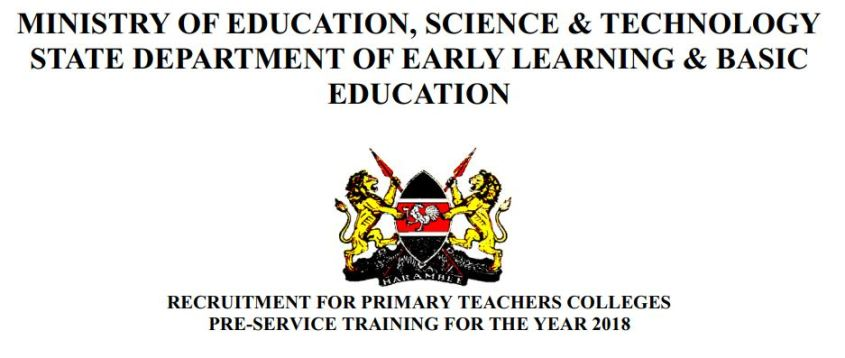 Recruitment of teachers 2018, Primary Teachers Colleges training for P1 jobs, forms