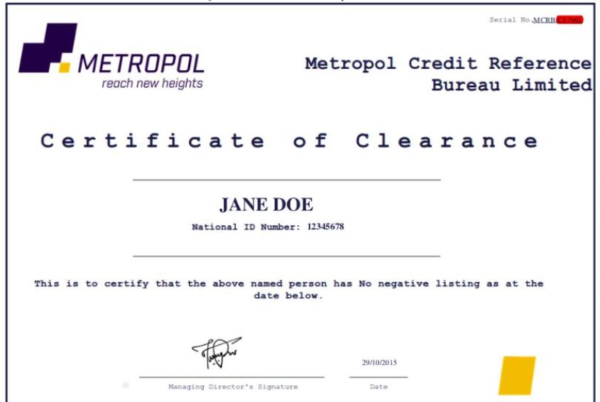Metropol sample CRB Clearance certificate