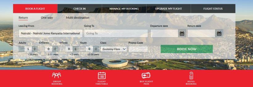 Kenya Airways online booking of tickets page