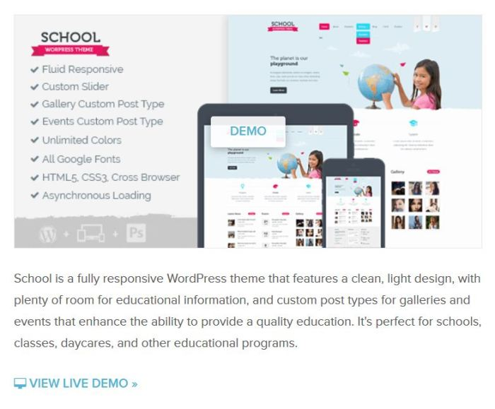 School WordPress theme can also be used for charity, NGO