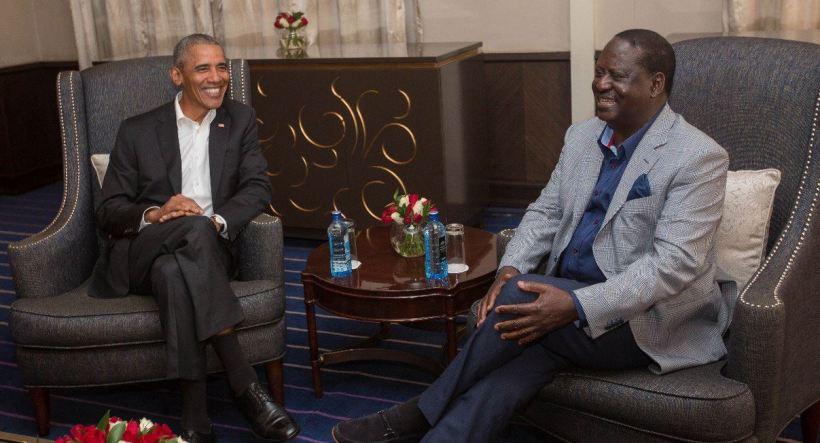 Raila Odinga with Barack Obama in Kenya, july 2018