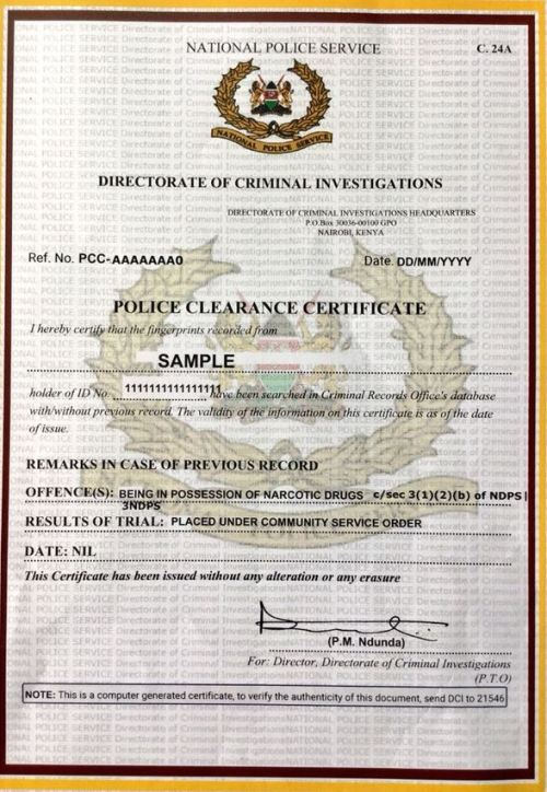 Sample Certificate of Good Conduct in Kenya and how to apply online through ecitizen portal