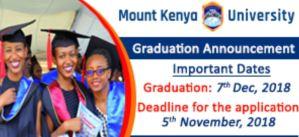 Update on Mount Kenya University (MKU) 15th Graduation Ceremony and list, December 2018