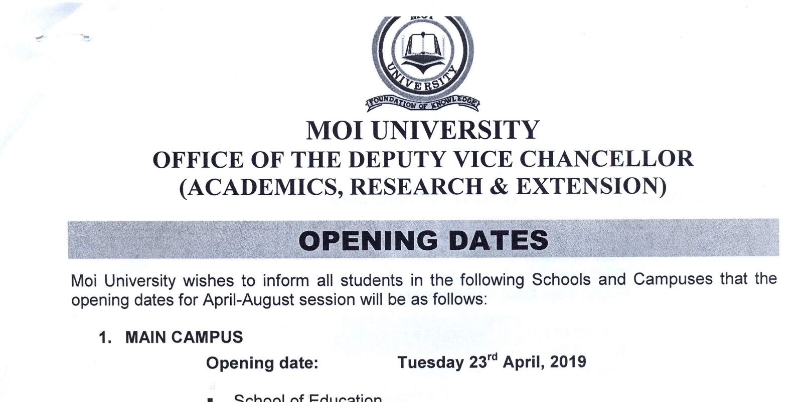 Update on Moi University Opening dates, 2019 for All campus and Schools