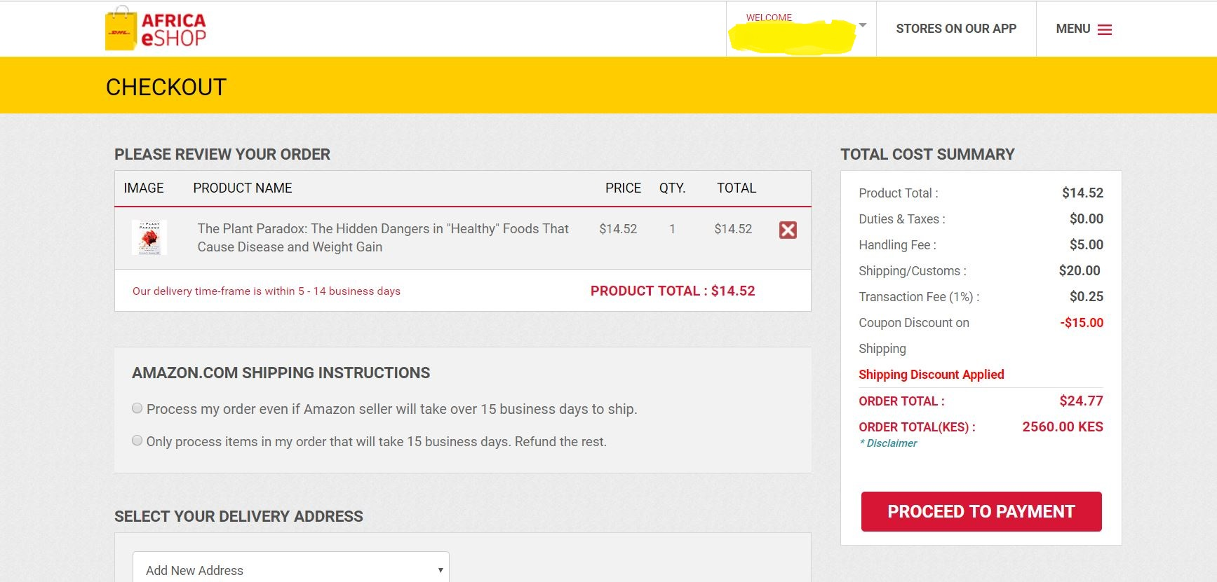 How to buy Items using DHL eShop