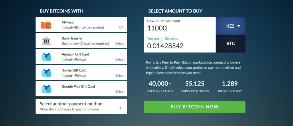 buying Bitcoins with Mpesa through Paxful trading platform