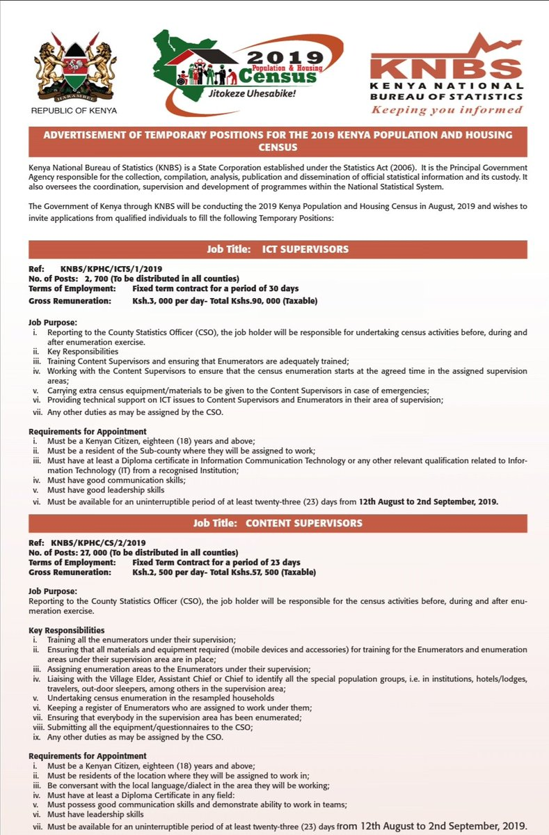 Census 2019 Job application for ICT and content supervisors