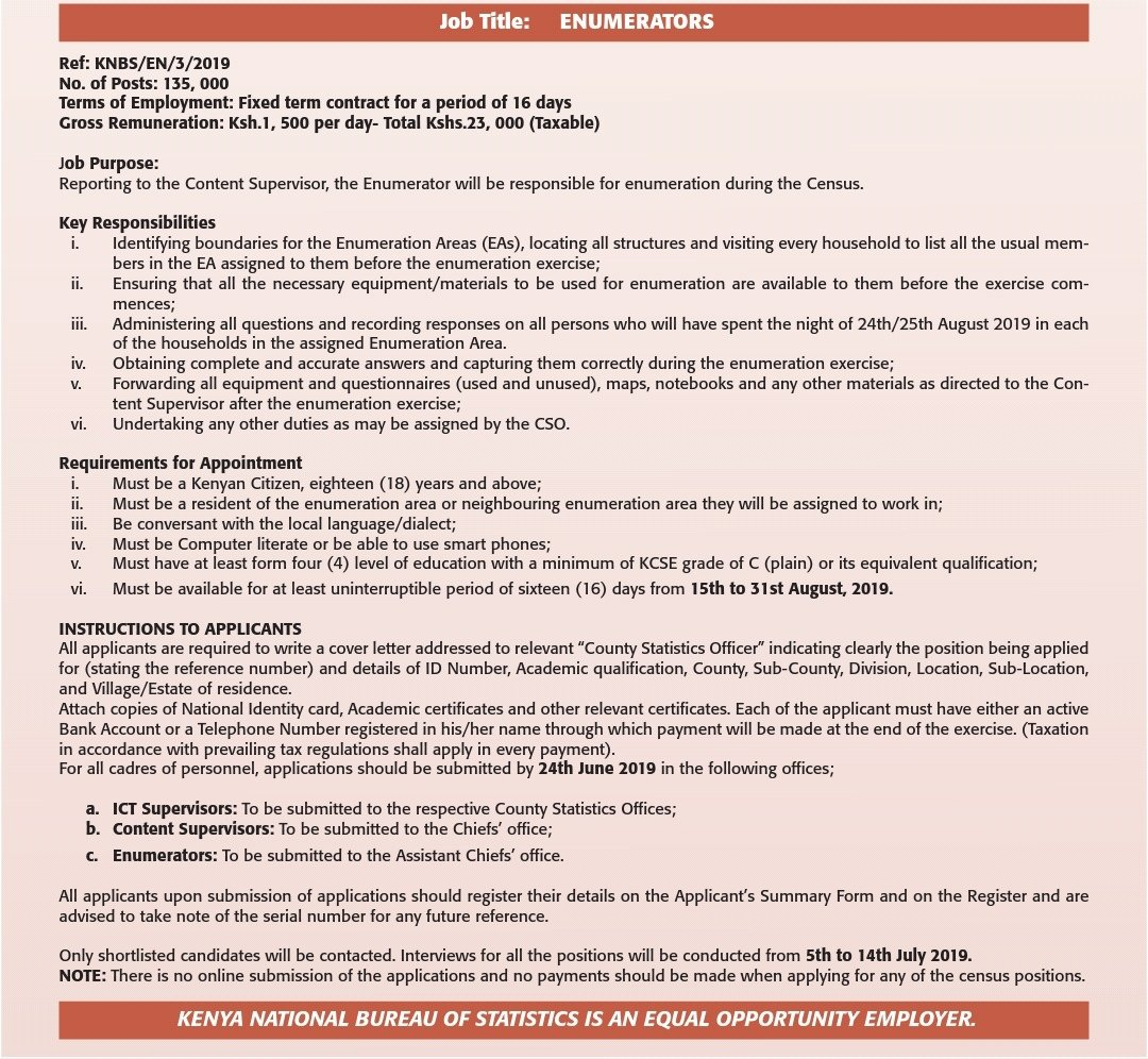 2019 Kenya Census job application requirements for enumerators
