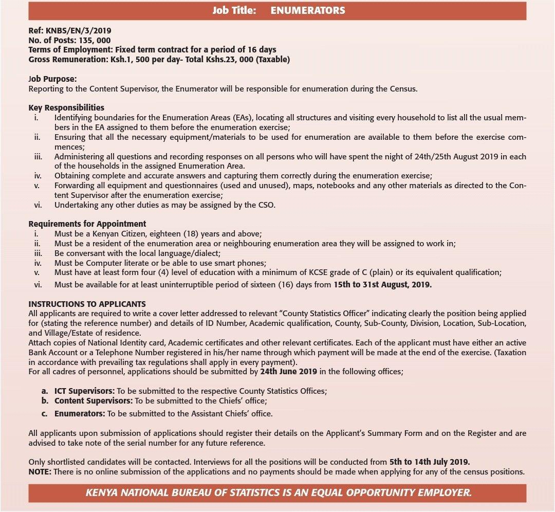 2019 Kenya Census job application requirements for enumerators