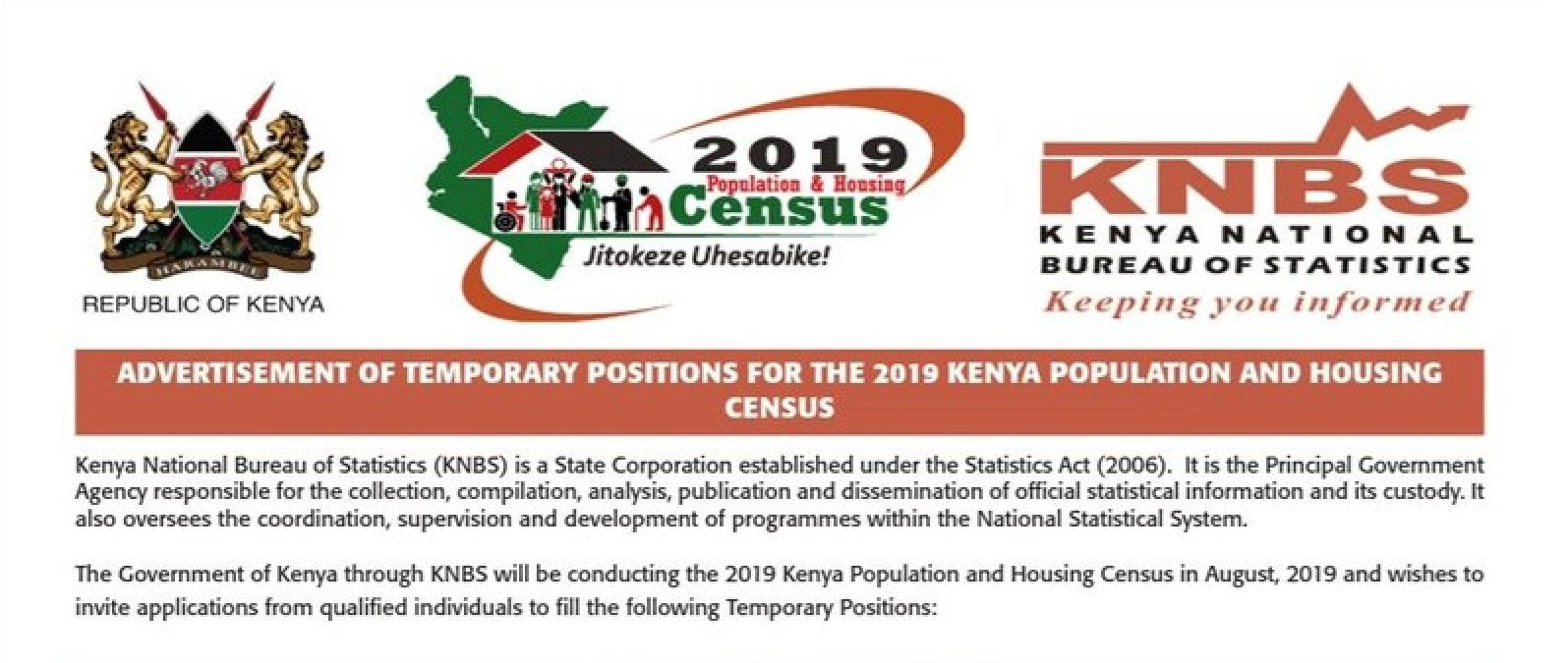 A guide on how to apply for census 2019 jobs for enumerators, content and ICT supervisors