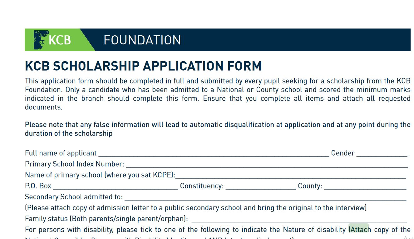 forms, Guide on how to apply for 2019 KCB Scholarship for Secondary School 2020 admissions
