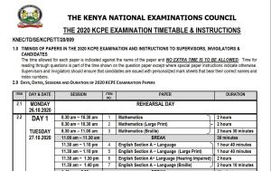 Download KNEC KCPE 2021 Timetable in pdf with all subject days
