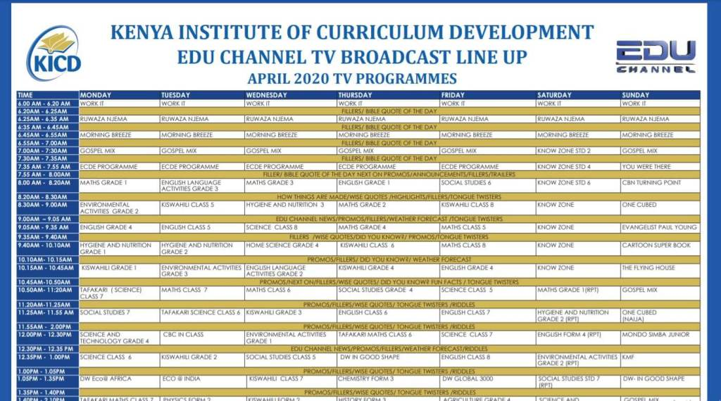 EDU TV Programme Lineup, KICD Learning Channel Timetable