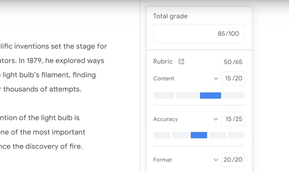 Grading Assignments in G suite Education