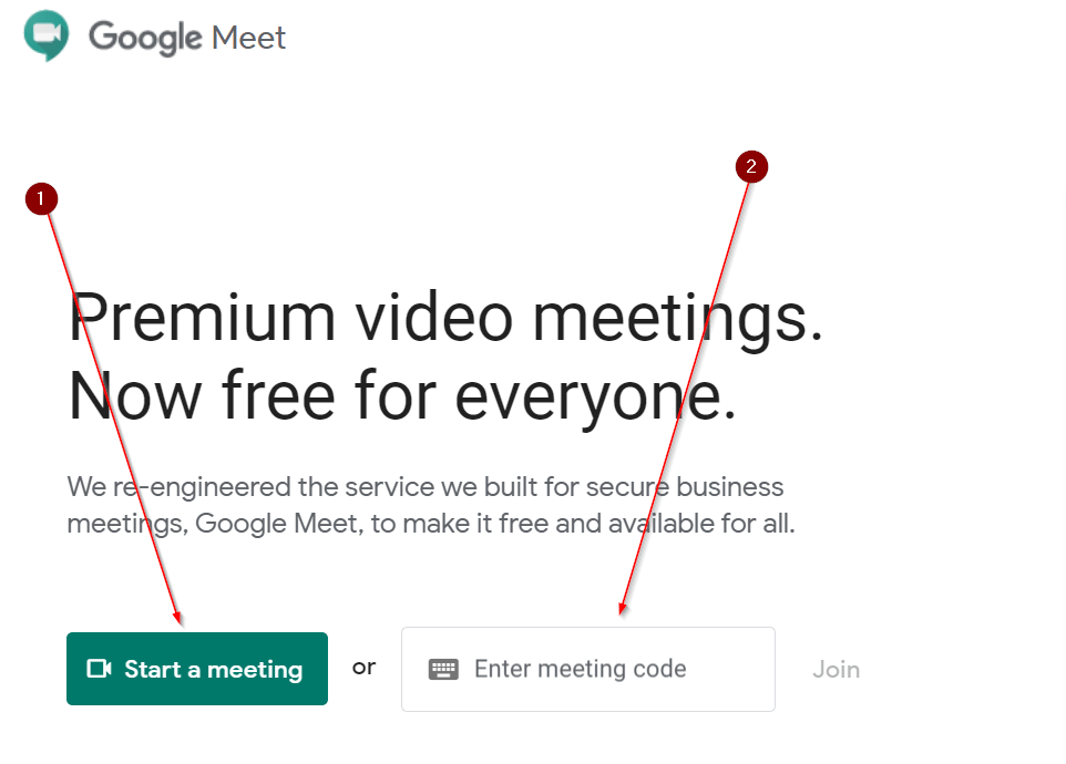 Start Meeting or Enter Meeting with code