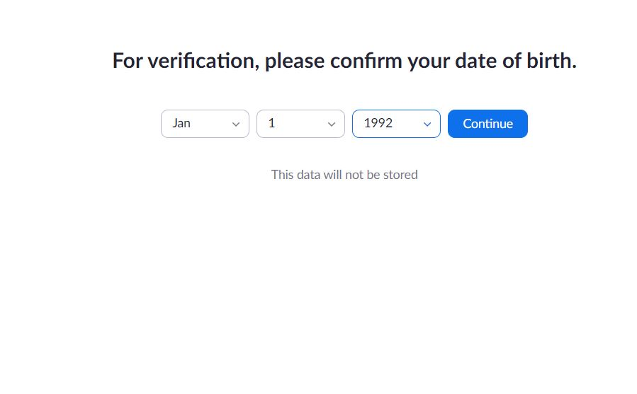 Zoom date for birth verification