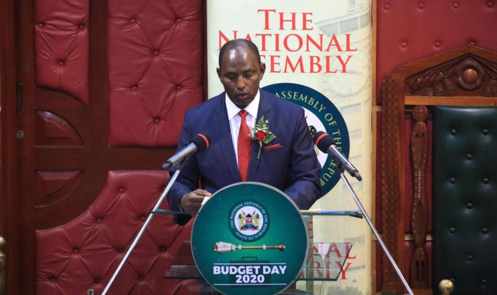 National Treasury CS Ukur Yatani reading 2020, 2021 Kenyan budget in parliament