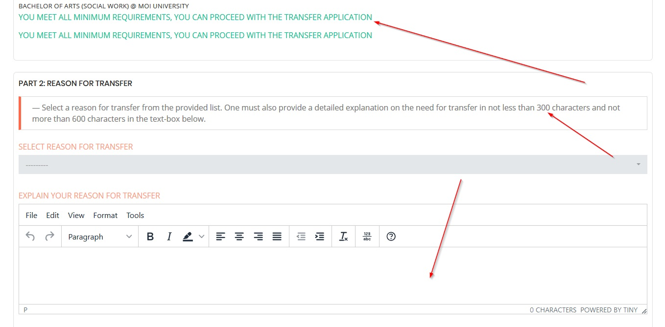 fill kuccps reason for transfer and attach support document