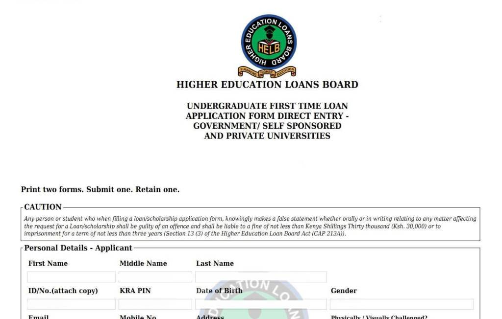 HELB Loan application window no open for first time, second subsequent, tvet and KMTC