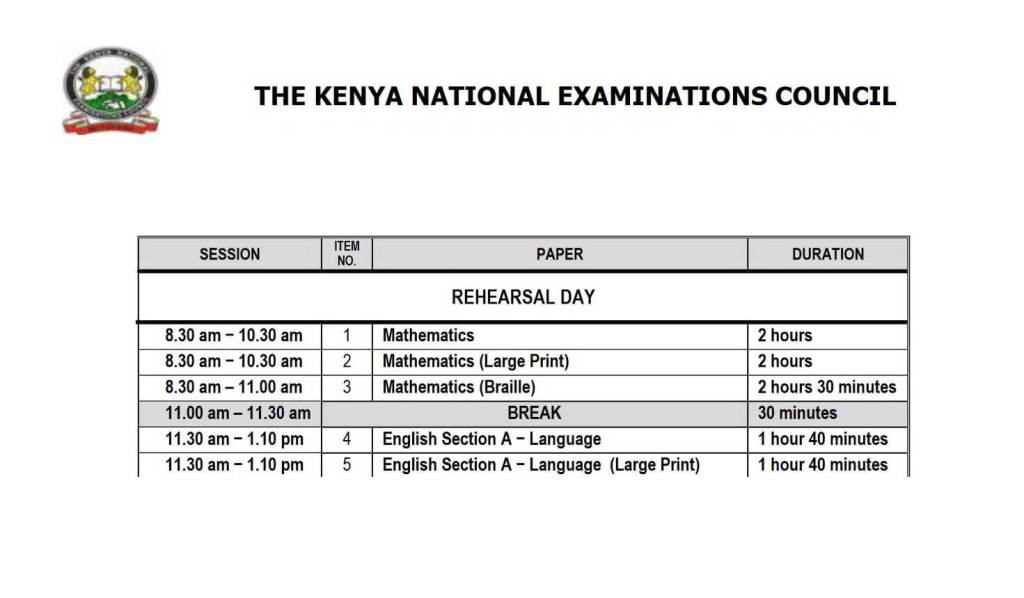 KNEC KCPE, KCSE start and end dates timetable