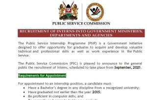 PSC 2021 internship opportunities application procedure
