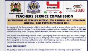 TSC internship 2021 advertisement