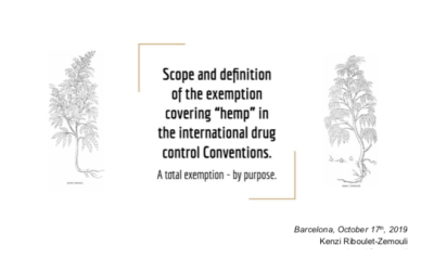 "Scope and definition of the exemption covering ""hemp"" in the international drug control Conventions. A total exemption – by purpose"