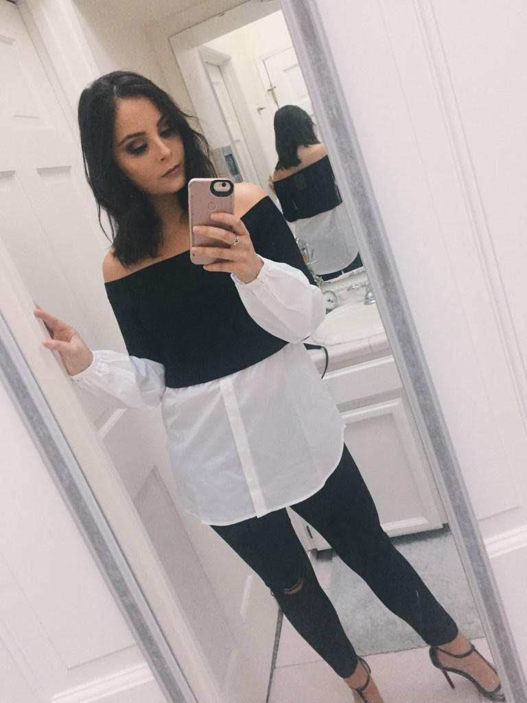 Nordstrom Anniversary Sale. Blouse, black jeans and black strappy heels.