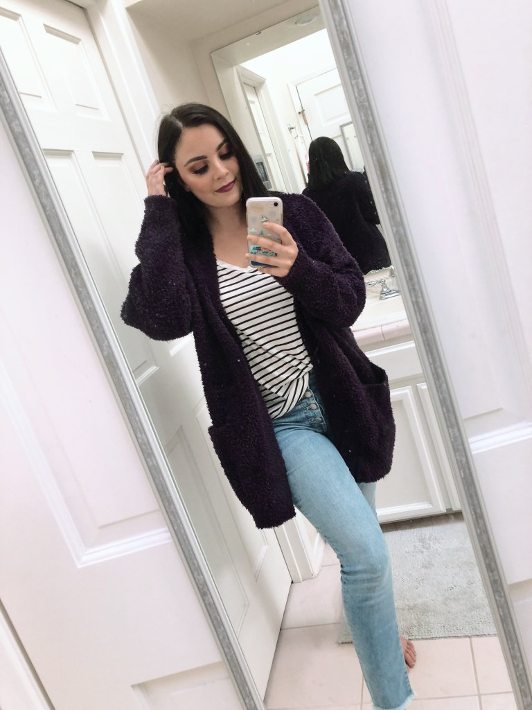 Amythest cardigan with black and white striped tee