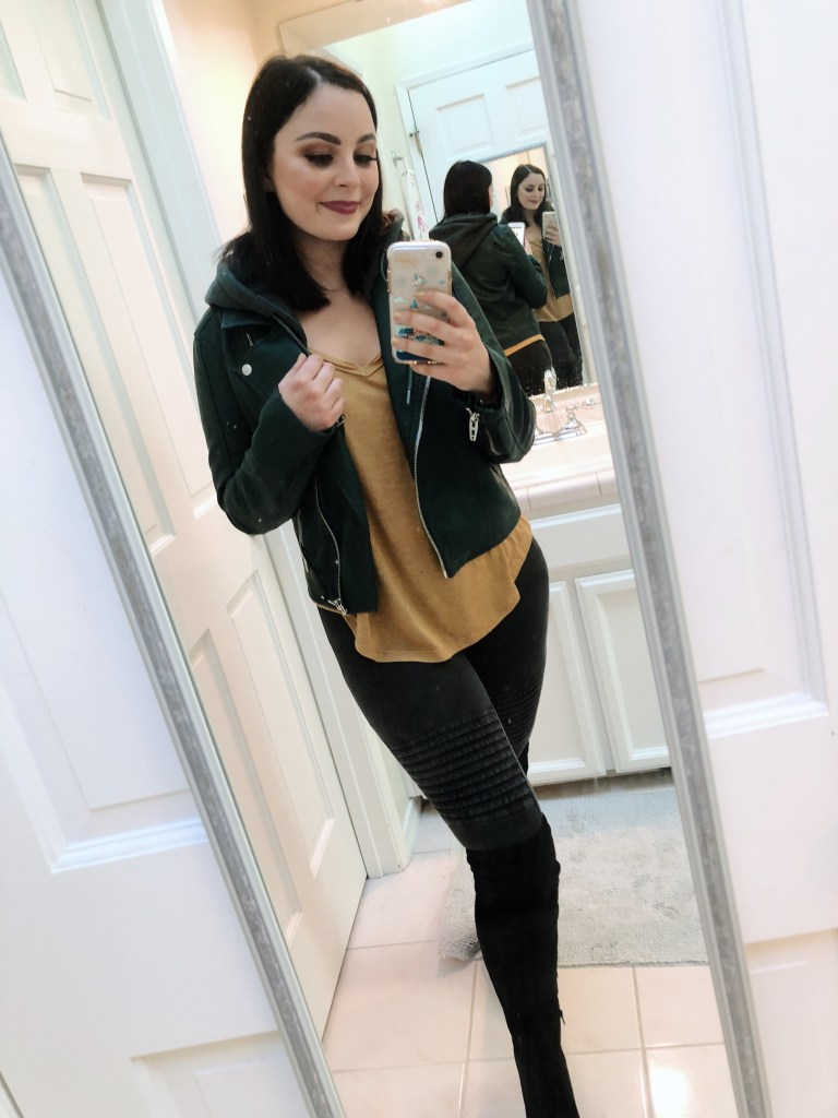 Green Leather Jacket with Moto Leggings and black boots