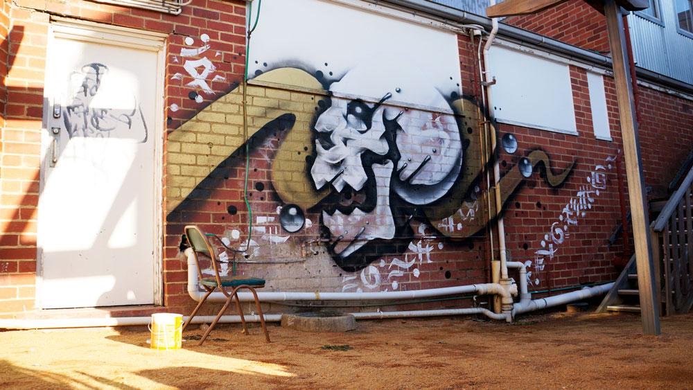 Gold Bubble Skull Street Art - The Stockroom, Melbourne