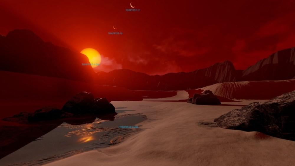 A TRAPPIST-1d virtuális felszíne. Fotó: NASA/JPL