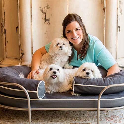 Katherine Elizabeth and her three dogs