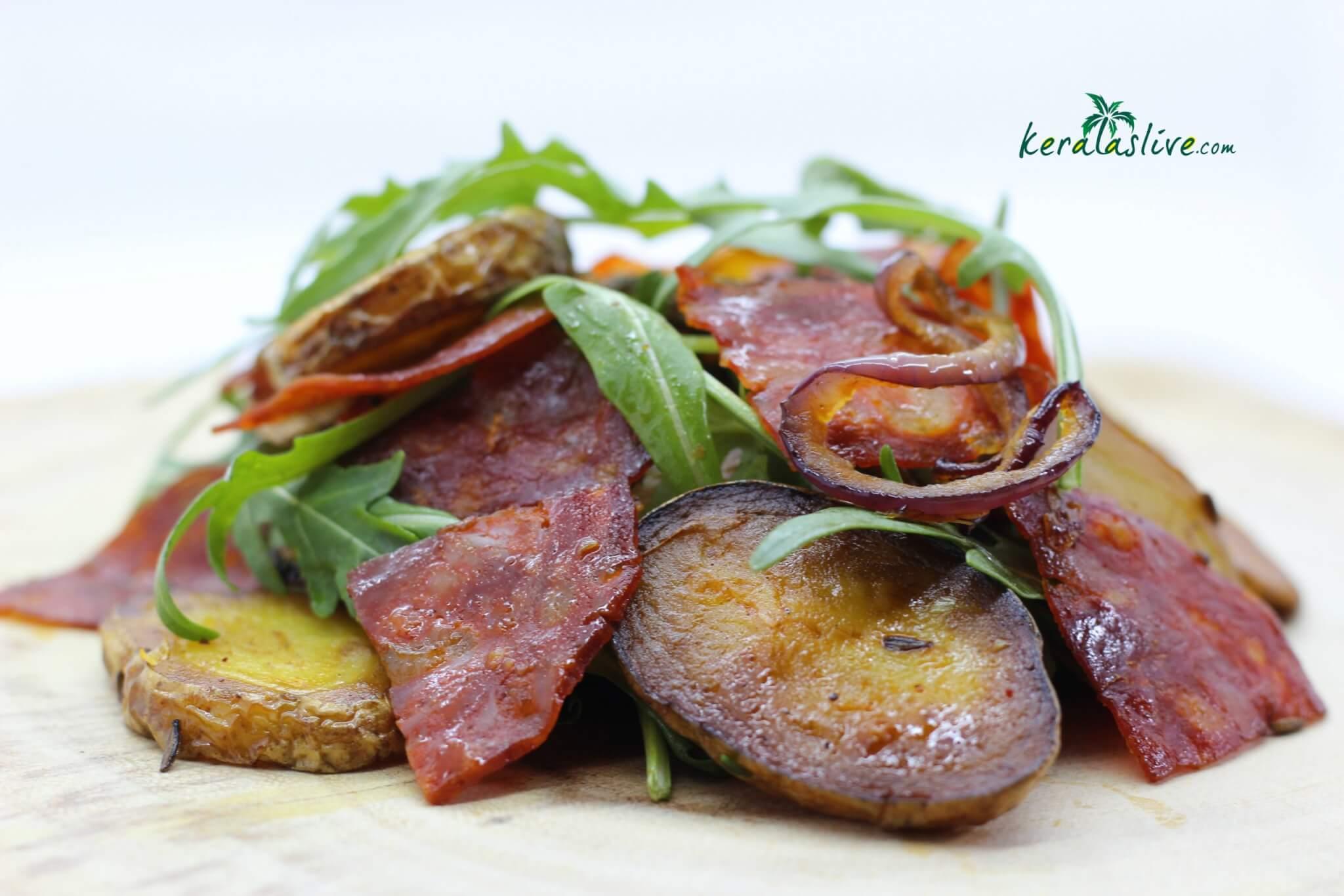 Cumin potato salad with chorizo
