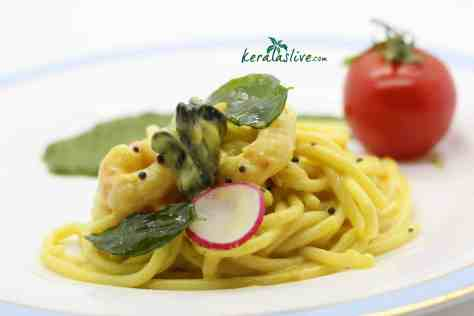 Kerala – spiced seafood spaghetti - Pasta is not native to kerala but this sauce and its spicing are brilliant with pasta. The flavours are alive and kicking.