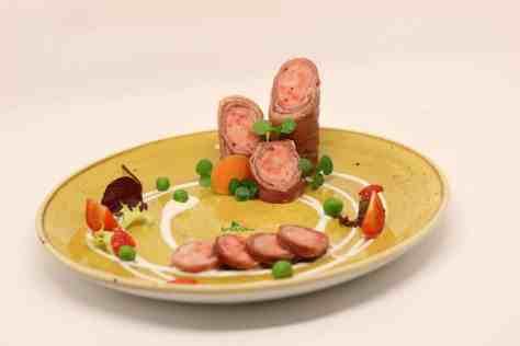 Tandoori chicken, Prosciutto cotto, petit pois a la Francaise and chive yogurt creme.