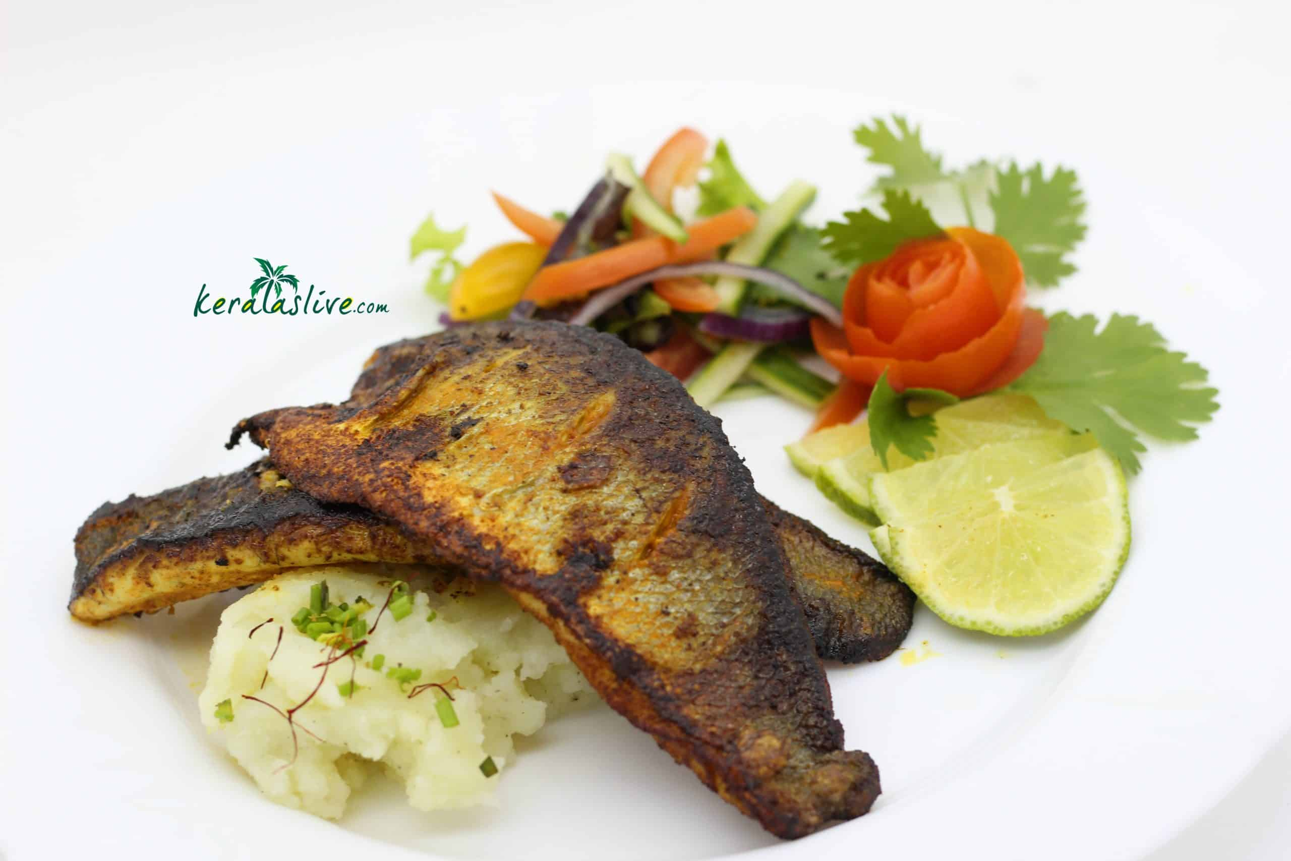 Kerala sea bass fish fry with saffron potatoes
