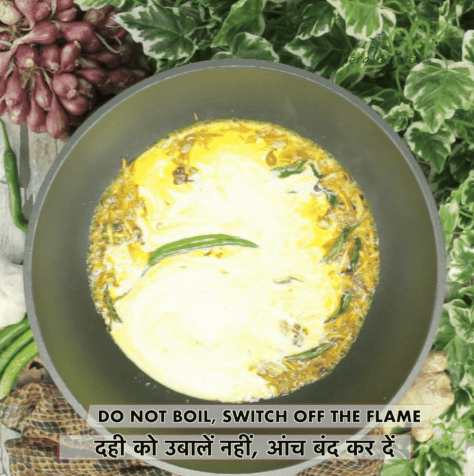 As soon as you pour the curd mixture, switch off the flame (do not boil the moru curry, it could split)