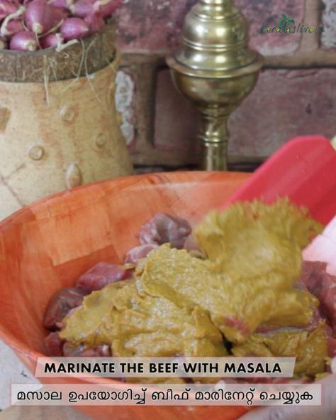 Marinate the beef with blended masala