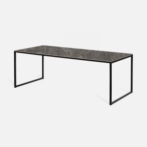 Keramische tafel Sienna grijs marmerlook met U-poot