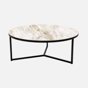Keramische tafels Salontafel Rond Oro Bianco Julia