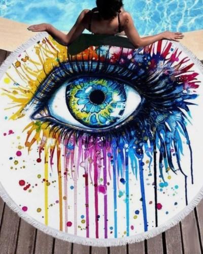 Színes szem kerek törölköző