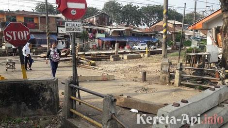 Perlintasan Kereta Api Sebidang Kebon Singkong samping Stasiun Klender, Jakarta Timur - wartakota.tribunnews.com