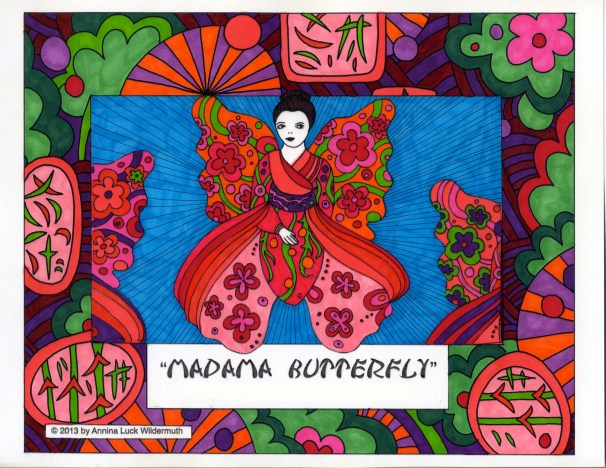 A creative coloring activity with Madame Butterfly by Annina Luck Wildermuth who always weaves in a bit of Greek mythology into her work. Enjoy one of her opera butterflies, print the pdf and color one yourself. http://bit.ly/I3HnH3