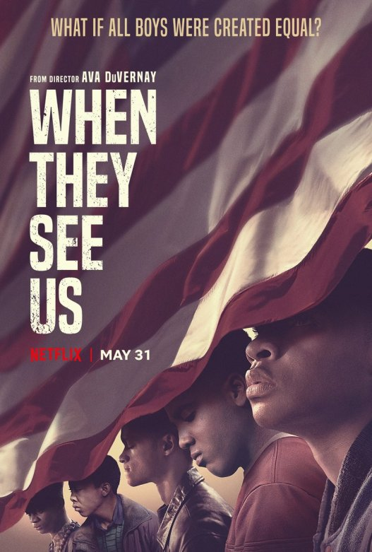 5 black oys, when they see us, Netflix, American flag