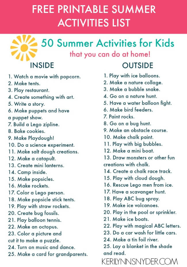 50 summer activities for kids- plus free printable
