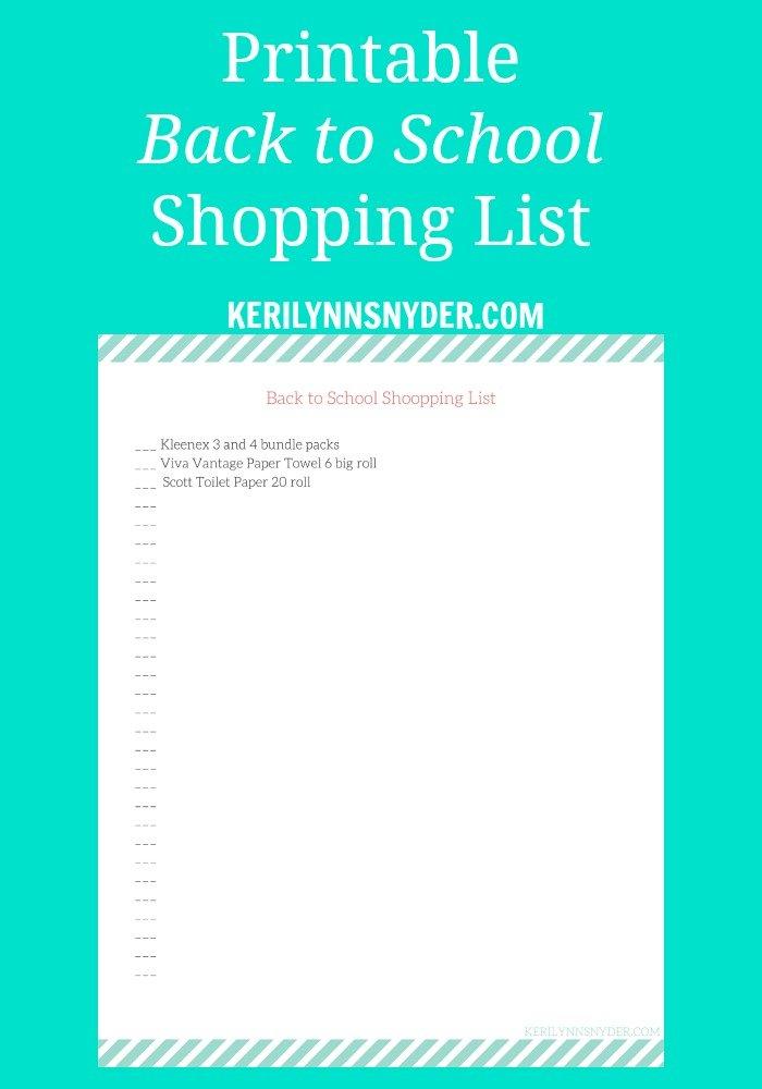 Back to School Printable Shopping List